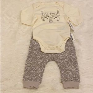ON neutral graphic Onesie and Pant Set